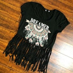 Black Rhinestone DREAMER Fringe Dreamcatcher Top